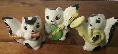 Vintage Ceramic Skunk Figure Band/Instrument Set-3 Pieces,Uncommon,Made in Japan