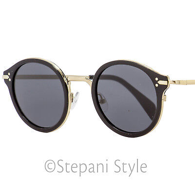 1a9d91ff220 CELINE ROUND SUNGLASSES CL41082S ANWBN Black Gold 46mm 41082 ...