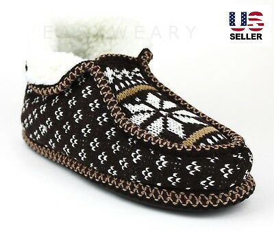 Womens Slip On Knit Fur Lined Winter Warm Soft Ankle Booties Shoes Slippers Home