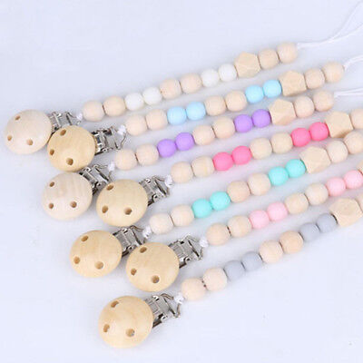 Baby Wooden Pacifier Clip Chain Holder Nipple Leash Strap Pacifier Soother Toy