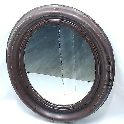 Antique Victorian Deep Cut Oval Wood Frame Silver-Plated Glass Wall Mount Mirror