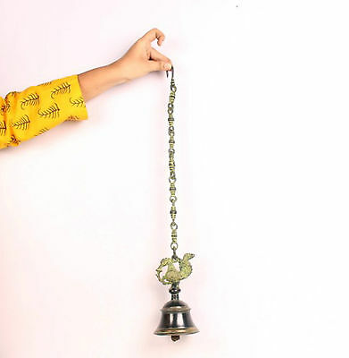 Indian Antique Look Hand Crafted Engraved Big Size Brass Hanging Bell-5409