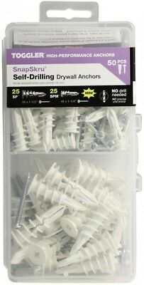 TOGGLER Snapskru 50-Pack Assorted Length x Assorted Diameter Kit Drywall Anchor