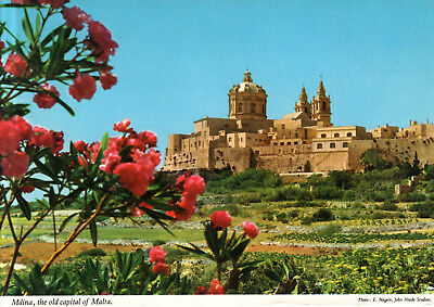 Malta  -  Mdina - City view with the Metropolitan Cathedral of Saint Paul - 1975