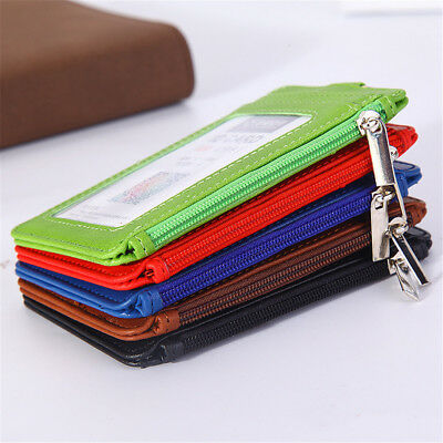 Business ID Bag Leather ID Badge Card Holder  Necklace Zipper Card Case Portable