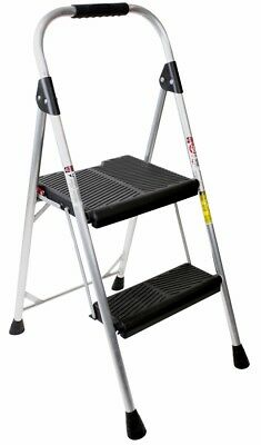 Werner 2 Step 225 lbs Capacity Silver Aluminum Foldable Step Stool Ergonomic