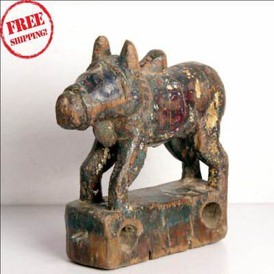 1850S Indian Old Antique Hand Carved Polychrome Wooden Holy Cow Nandi Figurine K
