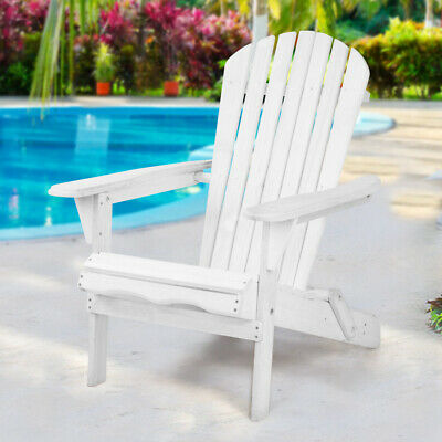 Outdoor Adirondack Chair Wooden Foldable Deck Seat For Patio Lawn Garden White