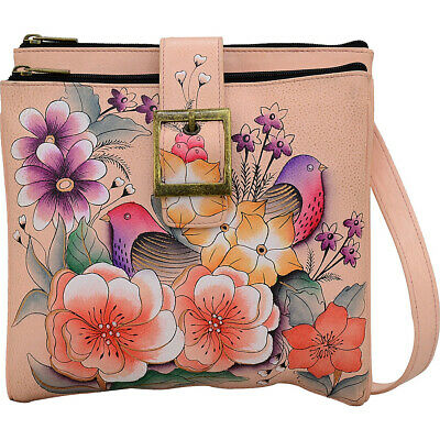 ANNA by Anuschka Hand Painted Triple Compartment Travel Day Travel Bag NEW