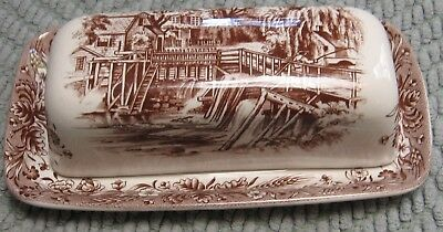 """Currier & Ives """"mill Dam"""" Hand Engraved Churchill England Butter Dish #5 (Brown)"""