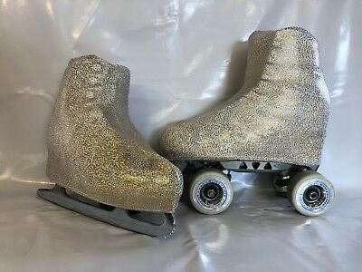 Gold Splatters Flowers Boot Covers for RollerSkates and Ice Skates  S,M