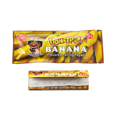 2 booklets HONEYPUFF Banana Fruit Flavored Rolling Papers Cigarette Papers 1 1/4