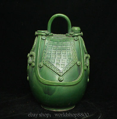"12.8"" Antique Old Chinese Tang Sancai Green Porcelain Dynasty Portable Wine Pot"