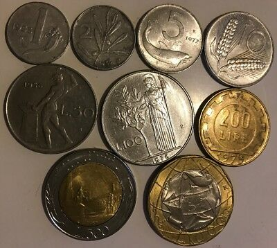Italy Coin (9 Coins, From 1 Lira To 1000 Lira)