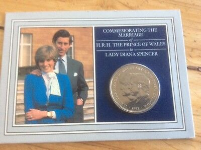 1981 Royal Wedding Charles And Diana Commemorative Coin In Folder