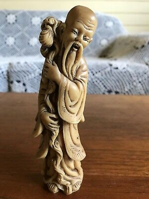 Vintage Asian Chinese Wise Man Figurine Carved