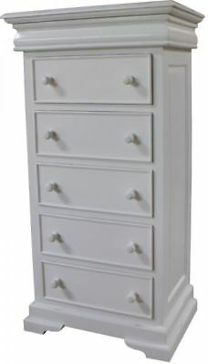 White Mahogany French Sleigh Style Tall Wellington Chest of 6 Drawers Tallboy