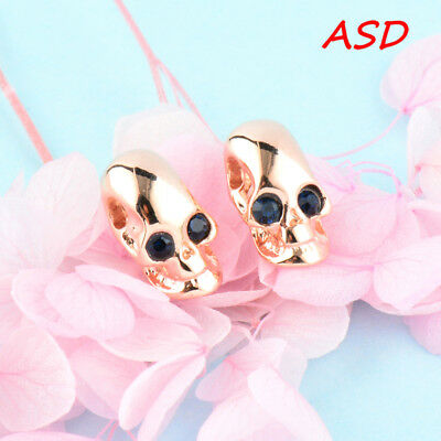 Wholesale 10pcs Silver Gold Skull With Dark Blue Crystal Eye Ear Studs