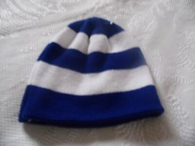 Blue + White Striped Football Team Supporters Beanie Hat Adults New 587b51700bb1
