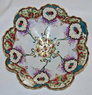 Stunning Antique 6 Panel Hand Painted Scalloped Beaded Serving Bowl
