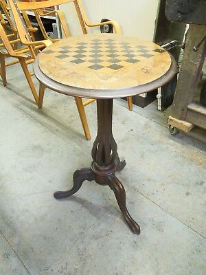 Antique inlaid marquetry fruit wood tilt top Games table on tripod legs