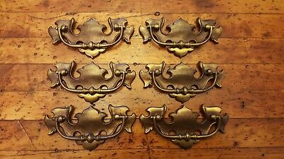Set of 6 Vintage Keeler Brass Drawer Pulls Drop Bail Handle N2469