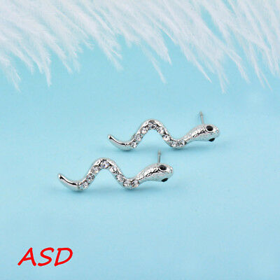 Wholesale 10pcs Women Snake Tiny Rhinestone Silver Gold Ear Studs Earrings