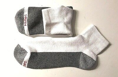 3 / 15  Pair HANES Men's White Cotton Stretch Athletic Ankle Sock Size10-13.