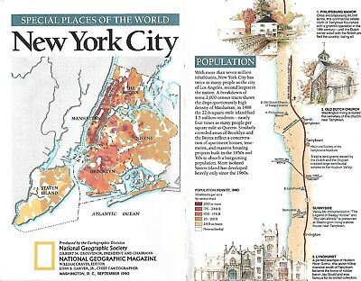 National Geographic Society Special Places In the World New York 1990 Guide Map
