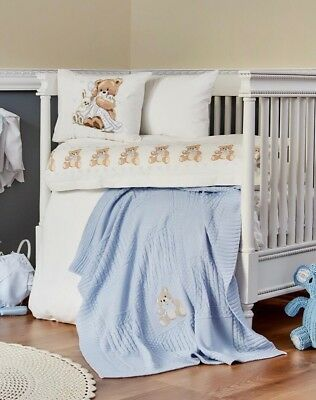 **NEW LUXURY BABY BOY BEDDING SET for COT/BED - BABY BLUE and WHITE + BABY BEAR