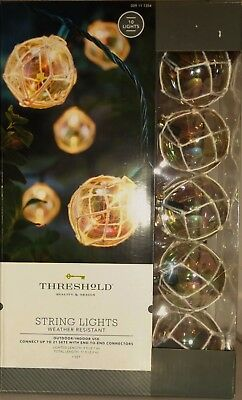 Threshold 10 Round w Green Wire Outdoor String Lights Weather Resistant Outdoor