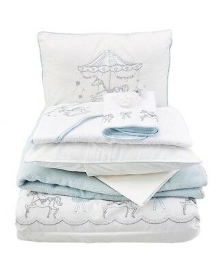 **NEW LUXURY BABY BOY BEDDING SET for COT - BABY BLUE & WHITE + MERRY-GO-ROUND