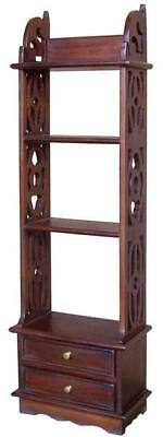 Carved Solid Mahogany Book Rack Wall Shelf With 2 Drawers H110 x W35 x D16cm