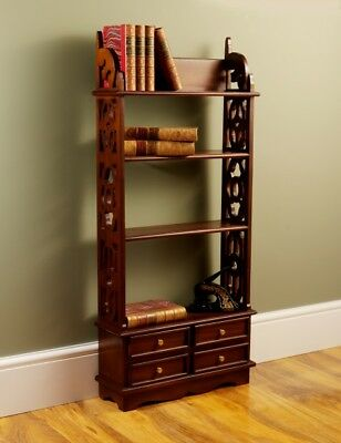 Carved Solid Mahogany Book Rack Wall Shelf With 4 Drawers H110 x W50 x D16cm
