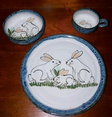 Handmade Speckled Pottery Bunny Rabbit Childs Dinnerware Nursery 3 Piece Set