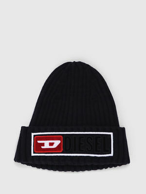 Diesel Jeans K-CODER-B Beanie Hat Black Red Cap Wooly chunky ribbing Wool d9f5b19daded