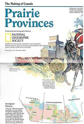 National Geographic Society Making of Canada Prairie Provinces Guide Map 1984