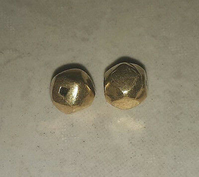 Collectible Pair Of Antique Roman Solid 22K Gold Bead Over Wax Hexagon BEAD