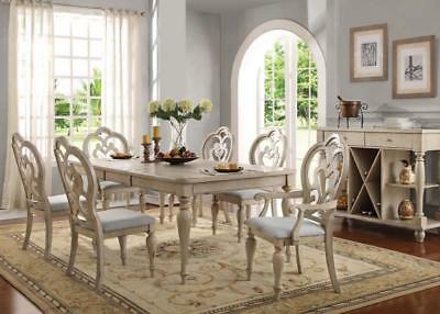 Acme Furniture Abelin 7 Piece Antique White Finish Dining Room Table Set 66060
