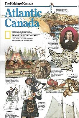 National Geographic Society The Making of Canada Atlantic Canada Guide Map 1983
