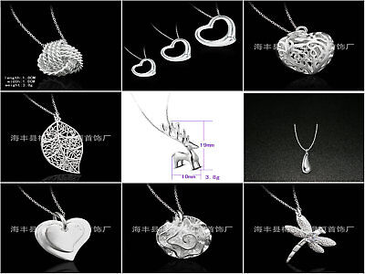 925 Sterling Silver Plt Charm Pendant Necklace With Chain
