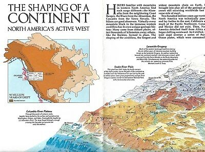 National Geographic Society Shaping  the Continent North America Guide Map 1985