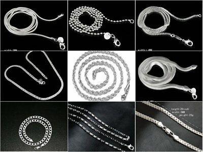 "Uk Curb Box 925 Sterling Silver Fill 16"" To 38'' Inch 1Mm To 6Mm Necklace Chain"
