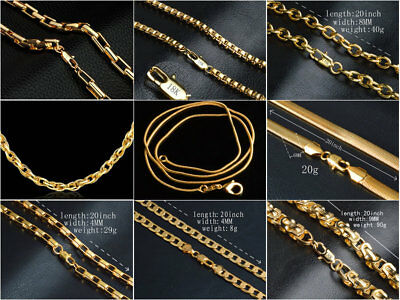 18K Mark GOLD FILL 16'' - 30'' SNAKE CURB Belcher BOX 1MM to 6MM NECKLACE CHAIN