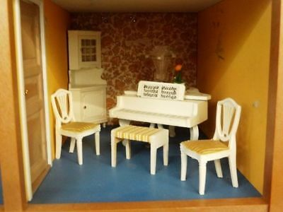 Vintage Lundby Dollhouse Cabinet Piano Bench Chairs And Lamp