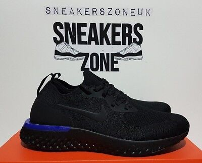 buy online cd47d 323e2 ... discount code for nike epic react flyknit triple black racer blue mens  trainers size 9.5 uk