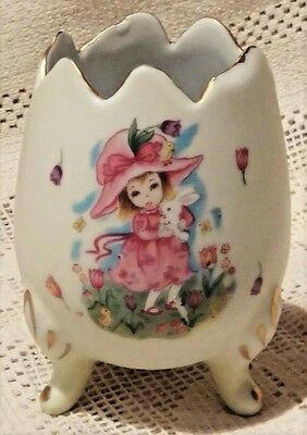 VINTAGE 1950's GEORGE Z. LEFTON CO. PORCELAIN 3-LEGGED EGG VASE - MADE IN JAPAN