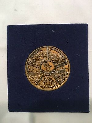Vintage Disneyland Bronze Coin, With Holder & Cover, Mickey Mouse