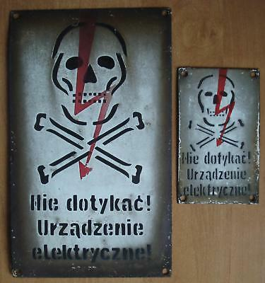 Original 2 Skull Vintage Antique Enamel Porcelain  Danger Sign
