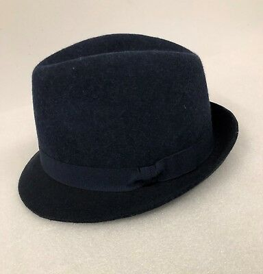 76af9494 M&S COLLECTION Pure Wool Felt Trilby(Panama) Hat with Stormwear Medium Navy  Mix